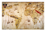 Vespucci&#39;s World Map, 1526 Giclee Print by Juan Vespucci
