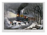 Railroad Snow Scene, 1872 Giclee Print by  Currier & Ives