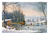 Currier & Ives Winter Scene Premium Giclee Print by  Currier & Ives