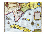 Florida: Map, 1591 Poster by Theodor de Bry