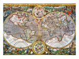 World Map, 1607 Giclee Print by Pieter Van der Keere