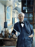 Thomas Edison (1847-1931). Photographed With His 'Edison Effect' Lamps in 1915 Photographic Print