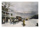 Snowy Turnpike, 1795 Premium Giclee Print by Carl Rakeman