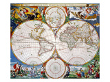 World Map, 17Th Century Giclee Print by Nicolaas Vissher