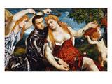 Venus, Mars & Cupid Giclée-tryk af Paris Bordone