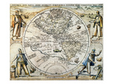 W. Hemisphere Map, 1596 Prints by Theodor de Bry