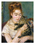 Renoir: Woman With A Cat Prints by Pierre-Auguste Renoir
