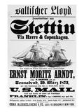Steamship Poster, 1873 Print