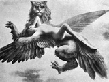 Nude And Griffin, 1890S Photographic Print