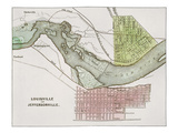 Jeffersonville, Indiana: Map Premium Giclee Print