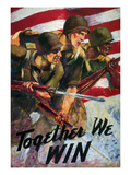WWII: Biracial Unity Poster Giclée-tryk