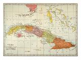 Map: Cuba, 1900 Reproduction procédé giclée