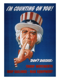 WWII: Careless Talk Poster Giclée-tryk