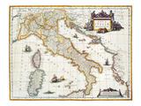 Mapa de Italia , 1631 Lámina giclée por Johannes Blaeu