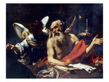 Saint Jerome & The Angel Premium Giclee Print by Simon Vouet
