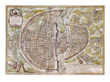 Paris Map, 1581 Posters by Georg Braun