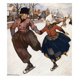 Smith: Silver Skates Giclee Print by Jessie Willcox-Smith