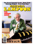 National Lampoon, February 1991 - Great Comedy, Old Woman with Bananas and Boxes of Shtick Poster