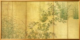 Japanese Autumn Grasses, Six-Fold Screen, Early Edo Period Gerahmter Giclée-Druck