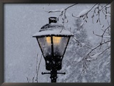 Lamp Post in the Evening Snow Framed Photographic Print by Images Monsoon