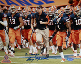 Doug Marrone Syracuse Running on Field with Team w/ &quot;Go Orange&quot; Insc. Photo