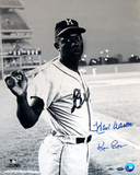 Hank Aaron Milwaukee Braves Uniform at Shea Stadium B&W Signed by Photographer Ken Regan Photographie