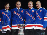 "Mark Messier / Brian Leetch / Adam Graves / Mike Richter Multi Signed with Cup w/ ""Years Insc."" Photographie"