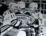 "Adam Graves, Brian Leetch & Mark Messier Triple Signed Celebration w/ ""Captain"" Insc. By Messier Photo"