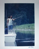Ken Regan Signed Hank Aaron Fishing Photo