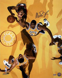 Magic Johnson Overhead View Yellow Floor Photo