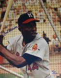 Hank Aaron Milwaukee Braves Color Vertical Close Up Signed by Photographer Ken Regan Photo