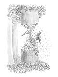 A woodpecker is using his beak to carve is own likeness into the trunk of … - New Yorker Cartoon Premium Giclee Print by Mort Gerberg