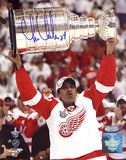 Chris Chelios Red Wings Stanley Cup Overhead Autographed Photo (Hand Signed Collectable) Photo