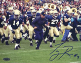 Tony Rice Signed Lou Holtz Running With Team Photo
