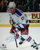 Brandon Dubinsky Skating up Ice Rangers White Jersey Photographie