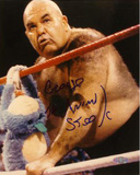 "George ""The Animal"" Steele Against The Ropes Autographed Photo (Hand Signed Collectable) Photo"