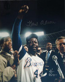 Hank Aaron One Arm Up w/ Ball in Hand Color Signed by Photographer Ken Regan Photo