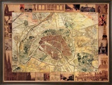 Carte de Paris II Prints by Susan Gillette