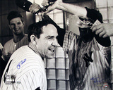 Yogi Berra Champagne Celebration B&amp;W (Signed by Regan) (MLB Auth) Photo