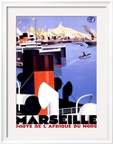Marsella, Porte Afrique Lámina giclée enmarcada por Roger Broders