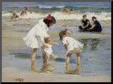 Children Playing at the Seashore Mounted Print by Edward Henry Potthast