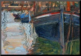 Boats Mirrored in the Water, 1908 Mounted Print by Egon Schiele