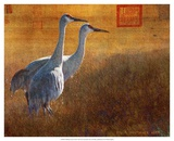 Walking Cranes Posters by Chris Vest