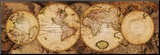 Map of the World: Nova Totius Terrarum Orbis Druck aufgezogen auf Holzplatte