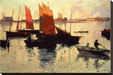 Evening Light at the Port of Camaret Stretched Canvas Print by Charles Cottet