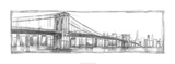 Brooklyn Bridge Sketch Premium Giclee Print by Ethan Harper