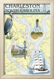 Charleston, South Carolina - Nautical Chart Posters