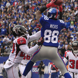 New York Giant and Atlanta Falcon: Hakeem Nicks, Dominique Franks and James Sanders Photographic Print by Peter Morgan
