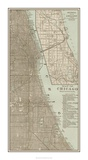 Tinted Map of Chicago Giclee Print