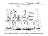 """""""He says he loves me, but he still uses his first wife's birthday as his p…"""" - New Yorker Cartoon Premium Giclee Print by Barbara Smaller"""